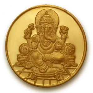 Gold Coins - P.N.Gadgil Jewellers 1 gm Ganesha Om Gold Coin