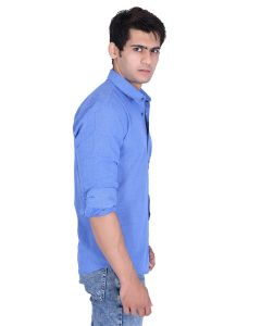 Casual Shirts (Men's) - Roller Fashions Sky Blue Solid Long Sleeves Casual Shirt (Code - BSRB04)