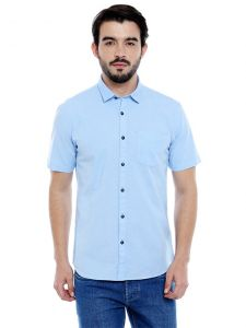 Light Blue Solid Short Sleeves Casual Shirt (code - C3srlb)