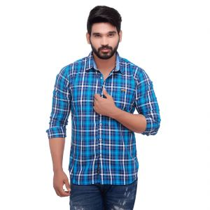 Blue Twill Checked Slim Fit Men