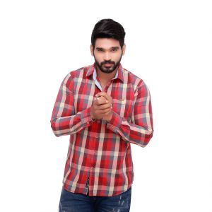 Red Twill Checked Slim Fit Men