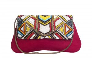 Rysha Red-multi Embroidered Suede Fabric Clutch For Women