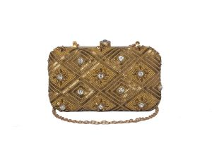 Rysha Gold Color Hand Embroidered Pu Clutch For Women (code-ry-e0048)