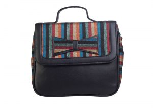 Rysha Black-multi Stripe Pu Fabric Satchel/sling For Women