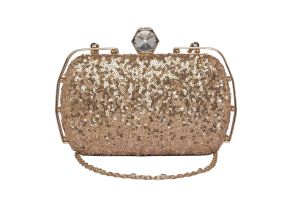 Rysha Rose Gold Color Sequins Fabric Clutch For Women (code-ry-rg0046)
