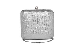 Rysha Silver Color Snake Textured Pu Clutch For Women (code-ry-s0047)