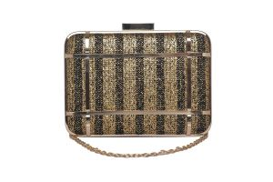 Rysha Black Color Striped Jute Clutch For Women (code-ry-sg0043)
