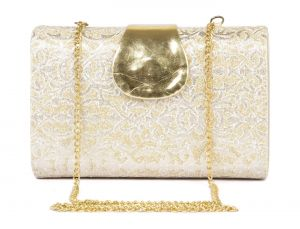 Rysha Gold Pu Paisley Pattern Box Clutch For Womens - Ry1004