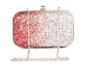 Rysha Red-sliver Metal & Pu Solid Box Clutch For Womens - Ry1005