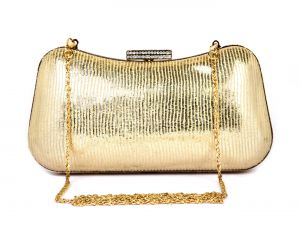Rysha Gold Metal & Pu Striped Pattern Box Clutch For Womens - Ry1006