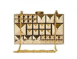Rysha Gold Metal Square Pattern Box Clutch For Womens - Ry1007