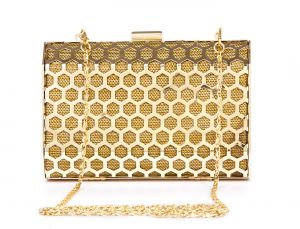 Rysha Gold Metal Self Design Box Clutch For Womens - Ry1008