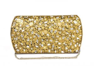 Rysha Gold Silk Sequins Work Clutch For Womens - Ry1011