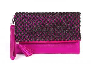 Rysha Black & Pink Net & Pu Checkered Pattern Clutch For Womens - Ry1018
