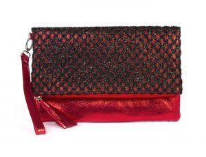 Rysha Black & Red Net & Pu Checkered Pattern Clutch For Womens - Ry1019