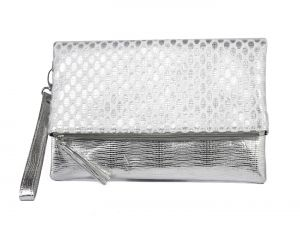 Rysha Sliver Net & Pu Self Design Clutch For Womens - Ry1020