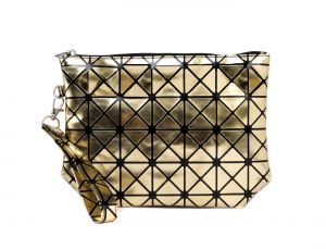 Rysha Gold Pu Checkered Pattern Clutch For Womens - Ry1025