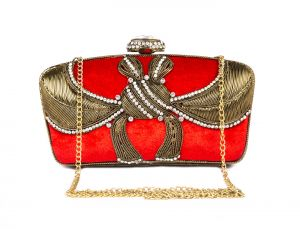 Rysha Red Metal & Velvet Self Design Clutch For Womens - Ry1030