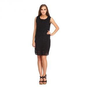 Western Dresses - Entease Black Polyester Dress for Women - POC3