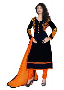 Ellis Harvey Glorious Black Cotton Semi Stitched Straight Salwar Suit Eh_977