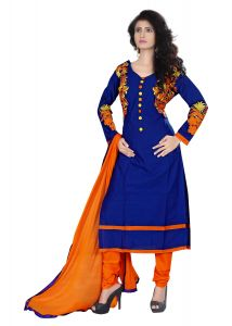 Ellis Harvey Lovely Blue Cotton Semi Stitched Straight Salwar Suit Eh_976