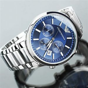 Men's Watches   Round Dial   Analog   Other - Imported Emporio Armani Ar2448 Blue Dial Chronograph Wrist Watch For Men