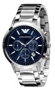 Men's Watches - Imported Emporio Armani Ar2448 Stainless Steel Blue Dial Mens Chrono Watch