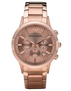 Armani Watches - Imported Men's Chronograph Ar2452 Rose Dial Rose Gold Stainless Steel Watch