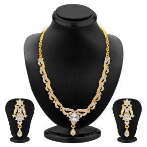 Jagdamba,Clovia,Sukkhi Women's Clothing - Sukkhi Fancy Gold Plated Ad Necklace Set For Women - (Code - 2554NADP600)