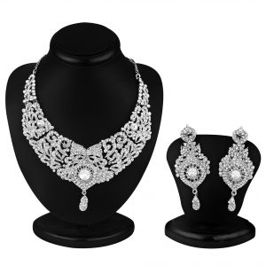 Asmi,Sukkhi,Sangini,Lime,Shonaya,Mahi,Bagforever,Sleeping Story Women's Clothing - Sukkhi Delightful Rhodium Plated Ad Stone Necklace Set - (Code - 1018V)