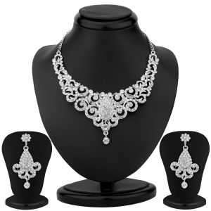 Asmi,Sukkhi,The Jewelbox,Gili Women's Clothing - Sukkhi Incredible Rhodium Plated Australian Diamond Necklace Set - (Code - 1093VN1500)