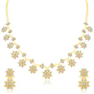 triveni,lime,la intimo,pick pocket,clovia,bagforever,sukkhi Necklace Sets (Imitation) - Sukkhi Stylish Gold Plated Collar Necklace Set For Women - (Code - N71439GLDPAP600)
