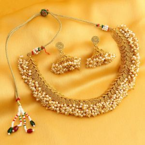 Kiara,Sukkhi,Ivy,Avsar,Sangini Women's Clothing - Sukkhi Excellent Jalebi Gold Plated Choker Necklace Set For Women - (Code - N71658GLDPRL2950)