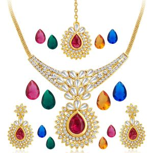 Kiara,Sukkhi,Jharjhar,Kalazone,Lime Women's Clothing - Sukkhi Attractive Gold Plated Ad Necklace Set With Set Of 5 Changeable Stone - (Code - 2358NADA860)