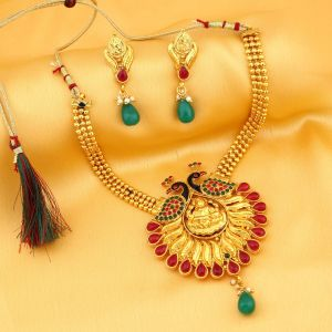 Kiara,Sukkhi,Ivy,Avsar,Sangini,Parineeta,Sleeping Story Women's Clothing - Sukkhi Attractive Laxmi Temple Peacock Gold Plated Necklace Set For Women - (Code - 3188NGLDPP950)