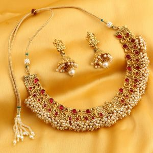 Asmi,Sukkhi,Lime,Hoop,Port Women's Clothing - Sukkhi Trendy Reversible Gold Plated Laxmi Design Necklace Set For Women - (Code - N71910GLDPGA092017)