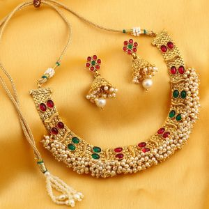 Kiara,Sukkhi,Jharjhar,Jpearls,Mahi,Diya,Asmi Women's Clothing - Sukkhi Delightly Reversible Red And Green Gold Plated Necklace Set For Women - (Code - N71912GLDPGA092017)