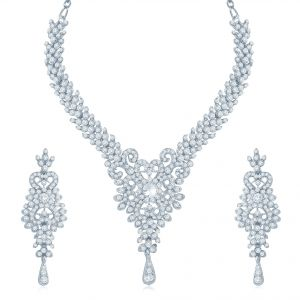 Kiara,Sukkhi,Tng,Arpera,See More,Jpearls,Diya Women's Clothing - Sukkhi Alluring Rhodium Plated Australian Diamond Stone Studded Necklace Set - (Code - 2017NADK1350)