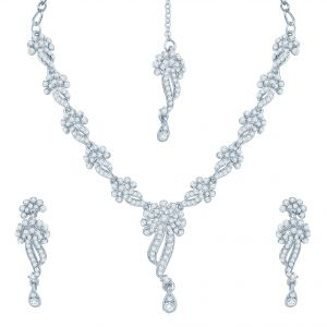 Kiara,Sukkhi,Ivy,Cloe,Sangini,M tech,Jharjhar Women's Clothing - Sukkhi Appealing Rhodium Plated Australian Diamond Stone Studded Necklace Set - (Code - 2033NADK850)