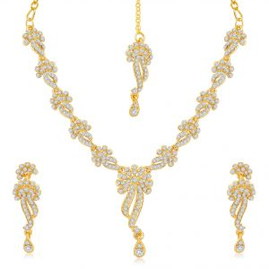 Vipul,Arpera,Sleeping Story,Kalazone,See More,Sukkhi,Flora,The Jewelbox,Bagforever Women's Clothing - Sukkhi Beguiling Gold Plated Australian Diamond Stone Studded Necklace Set - (Code - 2034NADK850)
