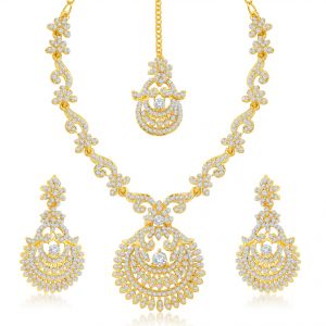Kiara,Sukkhi,Ivy,Avsar,Sangini,Asmi Women's Clothing - Sukkhi Incredible Gold Plated Australian Diamond Stone Studded Necklace Set - (Code - 2040NADK1500)