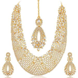 Asmi,Sukkhi,Sangini,Lime,Sleeping Story,Unimod,Cloe,Kiara Women's Clothing - Sukkhi Dazzling Gold Plated Australian Diamond Necklace Set - (Code - 2100NADL3000)
