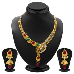 Asmi,Sukkhi,Sangini,Lime,Shonaya,Mahi,Bagforever,Jpearls Women's Clothing - Sukkhi Fine Gold Plated Necklace Set For Women - (Code - 2119NGLDPV3250)