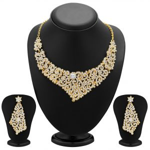 Kiara,Sukkhi,Ivy,Cloe,Sangini,M tech Women's Clothing - Sukkhi Alluring Gold Plated Ad Necklace Set For Women - (Code - 2124NADL1500)
