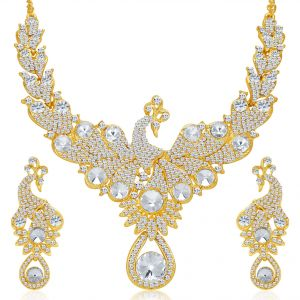 Kiara,Sukkhi Women's Clothing - Sukkhi Exotic Peacock Gold Plated Ad Necklace Set For Women - (Code - 2146NADV2750)