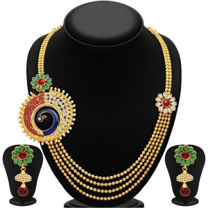 Asmi,Sukkhi,The Jewelbox,Parineeta,Clovia,Avsar,Kalazone,Bagforever Women's Clothing - Sukkhi Eye-Catchy Peacock Four Strings Gold Plated Necklace Set - (Code - 2193NGLDPP1710)