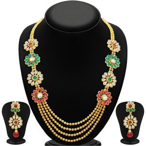 Kiara,Sukkhi,Jharjhar,Jpearls,Mahi,Flora,Estoss Women's Clothing - Sukkhi Beguiling Four Strings Gold Plated Necklace Set - (Code - 2196NGLDPP1620)