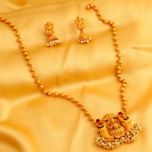 Mahi,Oviya,Sukkhi Jewellery - Sukkhi Marvellous Laxmi Design Gold Plated Necklace Set For Women - (Code - N72337GLDPRL092017)