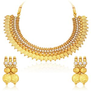 Sukkhi,Sangini,Lime,Flora,Jagdamba Women's Clothing - Sukkhi Astonish Gold Plated Temple Jewellery Coin Necklace Set For Women - (Code - 2721NGLDPKN1000)