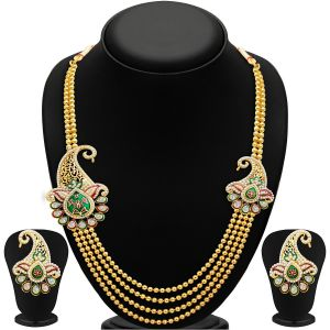 Hoop,Oviya,Gili,Parineeta,Surat Tex,Sukkhi Women's Clothing - Sukkhi Alluring Four Strings Gold Plated Necklace Set - (Code - 2202NGLDPP1710)